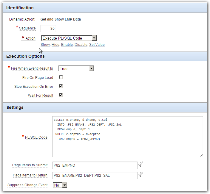 Execute Dynamic Action From Report Column Link
